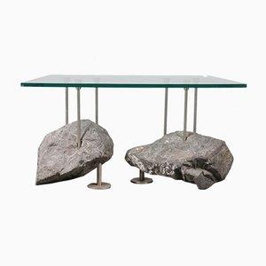 Tavolino da caffè con base in pietra, anni '80