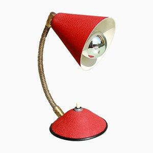 Lámpara de mesa italiana Mid-Century roja, años 50