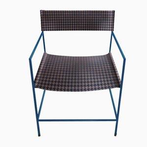 Königsblauer Nr. 14 Armlehnstuhl mit Leder in Hahnentrittmuster von Christian Watson