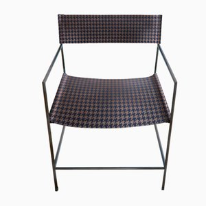 No. 14 Black Armchair with Royal Blue Houndstooth Leather by Christian Watson