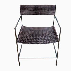 Schwarzer Nr. 14 Armlehnstuhl aus königsblauem Leder in Hahnentrittmuster von Christian Watson