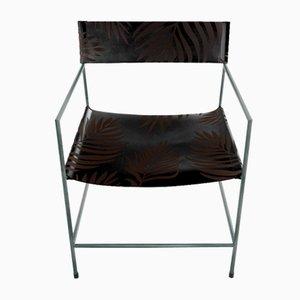 Schiefergrauer Nr. 14 Armlehnstuhl mit schwarzem Leder mit Palmenmuster von Christian Watson