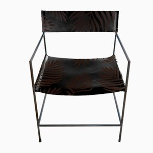 Schwarzer Nr. 14 Armlehnstuhl mit schwarzem Leder mit Palmenmuster von Christian Watson