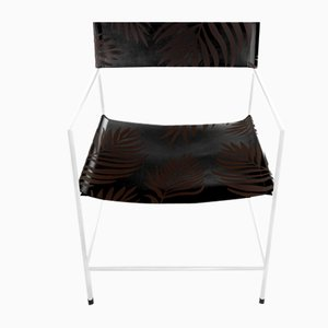 No. 14 White Armchair with Black Palm Leather by Christian Watson