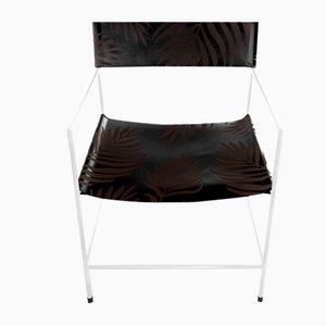 Weißer Nr. 14 Armlehnstuhl mit schwarzem Leder mit Palmenmuster von Christian Watson