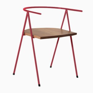 No. 52 London Cafe Chair in Raspberry Red and Walnut by Christian Watson