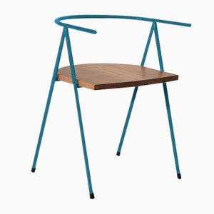 No. 52 London Cafe Chair in Denim Blue and Walnut by Christian Watson