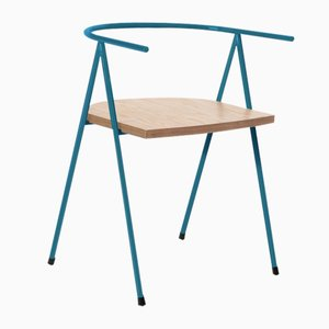 No. 52 London Cafe Chair in Denim Blue and Birch Ply by Christian Watson