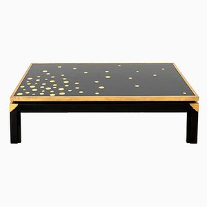 Black Lacquered Coffee Table with Gilt Brass Dots, 1970s