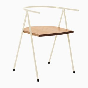 No. 52 London Cafe Chair in Bone White and Oak by Christian Watson