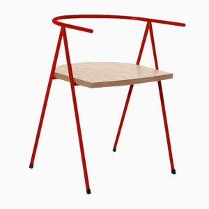 No. 52 London Cafe Chair in Poppy Red and Birch Ply by Christian Watson