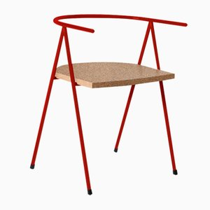 No. 52 London Cafe Chair in Poppy Red and Cork by Christian Watson