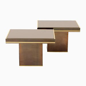Coppered Mirror End Tables by Willy Rizzo, 1980s, Set of 2