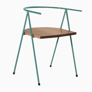 No. 52 London Cafe Chair in Glacier Blue and Walnut by Christian Watson