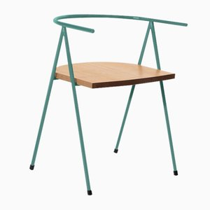No. 52 London Cafe Chair in Glacier Blue and Oak by Christian Watson