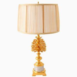 Pine Cone Lampe aus vergoldeter & versilberter Bronze von Maison Charles, 1970er