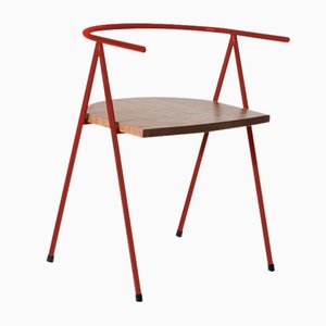 No. 52 London Cafe Chair in Crimson and London Plane by Christian Watson