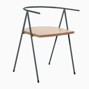 No. 52 London Cafe Chair in Slate Gray and Birch Ply by Christian Watson