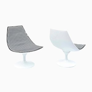 White Lacquered Fibreglass Swirl Armchairs, 1970s, Set of 2