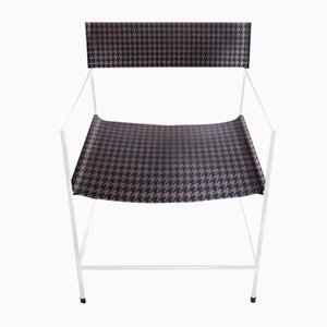 No. 14 White Armchair with Royal Blue Houndstooth Leather by Christian Watson