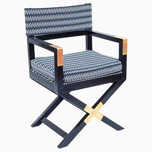 Schwarz lackierter Armlehnstuhl aus Kiefernholz mit X Beinen, 1970er