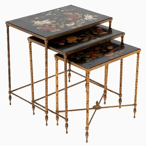 Nesting Tables in Flowered Black Lacquer from Maison Baguès, 1950s