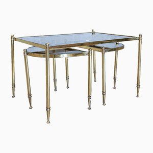 Portuguese Brass and Glass Nesting Tables, 1970s
