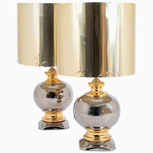Lámparas esféricas de cerámica esmaltadas en dorado y plateado, años 60. Juego de 2