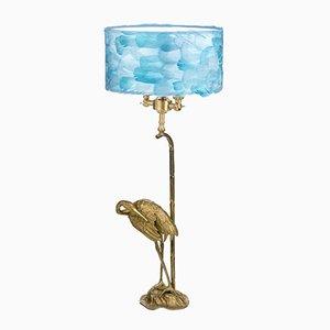Hellblaue Fauna Heron Tischlampe von Brass Brothers