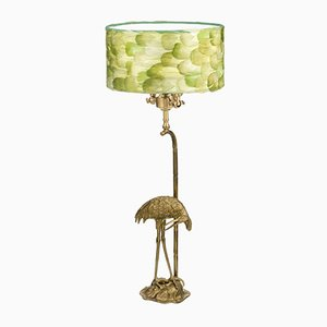 Fauna Heron Table Lamp in Light Green from Brass Brothers