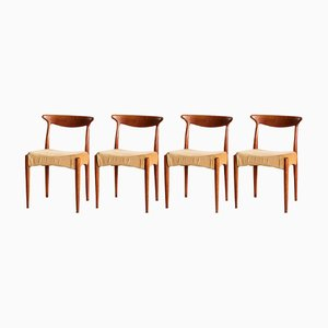 Chaises de Salle à Manger en Teck par Arne Hovmand Olsen pour Mogens Kold, Danemark, 1960s, Set de 4