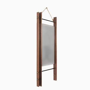 Espejo rectangular con marco doble de teca, años 50