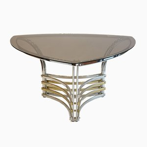 Italienischer Tisch aus Rauchglas & Chrom, 1970er