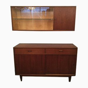 Small Mid-Century Teak Sideboard with Wall Shelf