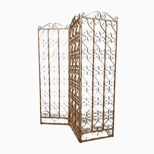 Vintage Brass Room Divider Paravan Folding Screen, 1950s