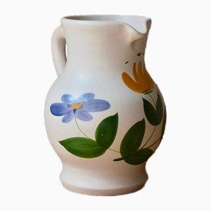 Floraler Mid-Century Krug aus Keramik von Poteries du Marais