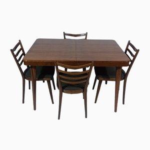 Tavolo allungabile con quattro sedie di Jindřich Halabala, anni '30