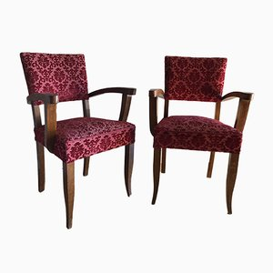 Vintage Burgundy Velvet Bridge Armchairs, Set of 2