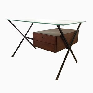 Mid-Century Wooden and Glass Desk by Franco Albini