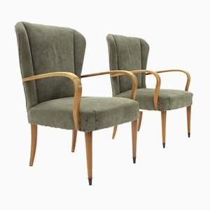 Mid-Century Italian Green Armchair, 1950s, Set of 2