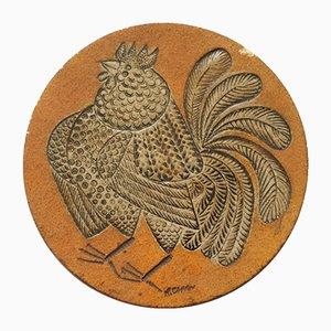 Azulejo con gallo Mid-Century de cerámica de Roger Capron, años 60