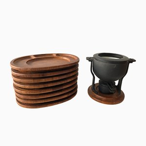 Vintage Danish Rosewood Fondue Set from Digsmed