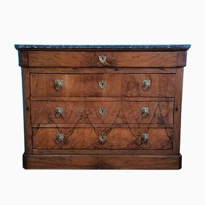 Antique French Walnut & Marble Commode, 1880s