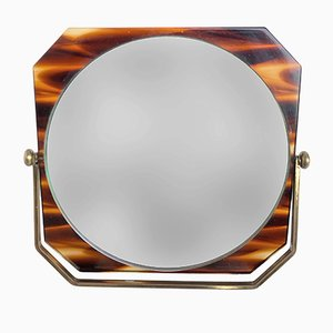 Italian Brass & Tortoise Plexiglass Table Mirror, 1970s