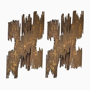 French Bronze Brutalist Sculptural Sconces, 1970s, Set of 2