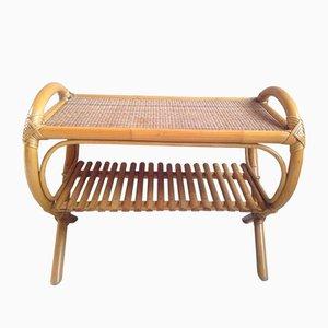 Französischer Vintage Beistelltisch aus Bambus, Korbgeflecht & Rattan, 1960er