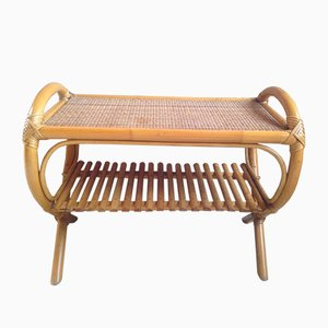 Vintage French Bamboo, Wicker & Rattan Side Table, 1960s