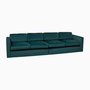 Grünes modulares Mid-Century Sofa aus Samt von Milo Baughman für Thayer Coggin