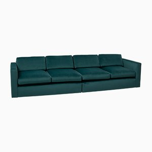 Mid-Century Green Velvet Modular Sofa by Milo Baughman for Thayer Coggin