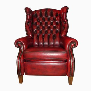 Chesterfield Style Red Leather Reclining Armchair, 1960s